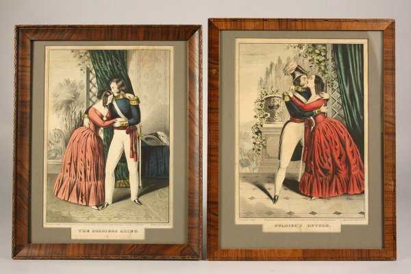 9: Pair of lithographs,  Currier soldier prints