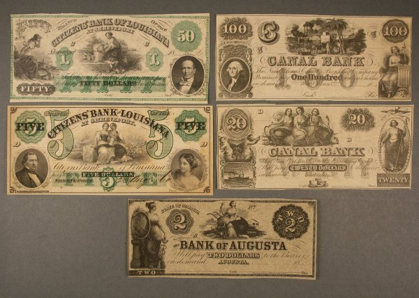 15: Lot of five obsolete currency notes, Louisiana & GA