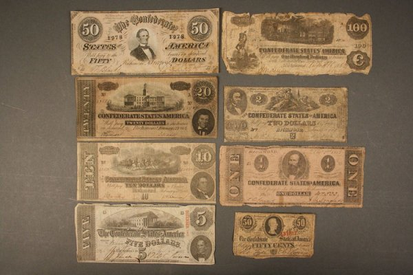 16: Grouping of Eight obsolete currency notes, Confeder