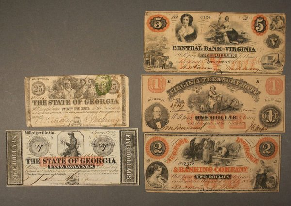 18: Grouping of obsolete currency notes, Georgia and VA