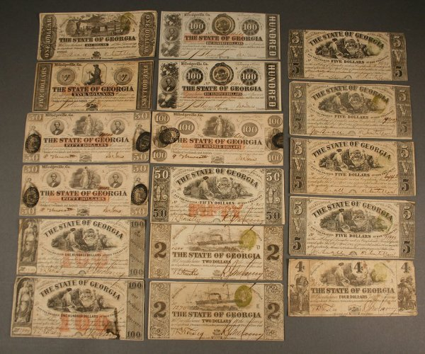 20: Grouping of State of Georgia obsolete currency, 17