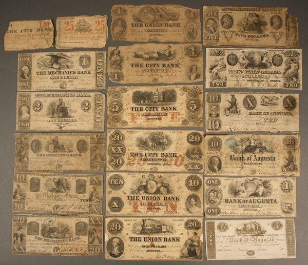 21: Grouping of Augusta, Georgia obsolete currency, 19