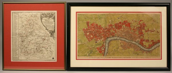 23: 2 Maps: Lotter's Bavaria & City of London 18th cent
