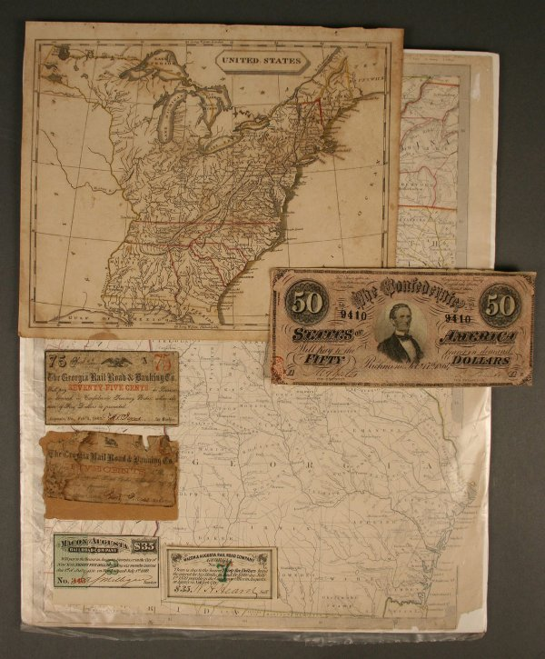 24: Two early maps, GA & US and obsolete currency