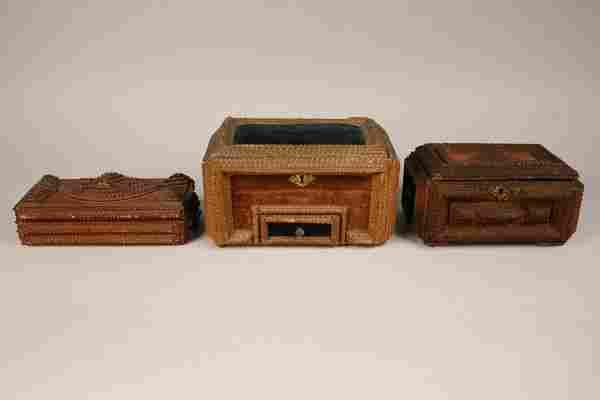 109: Three tramp art folk art boxes