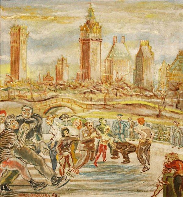 151: Joseph Delaney oil on board, Central Park Skating