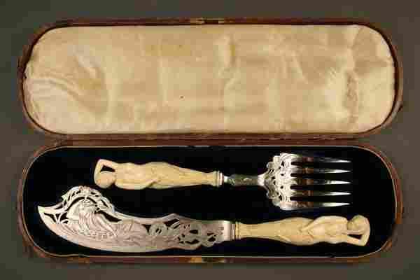 183: Ivory mermaid handled sterling fish set, Lincoln c