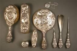 184 Art Nouveau sterling dresser vanity set Unger Lo