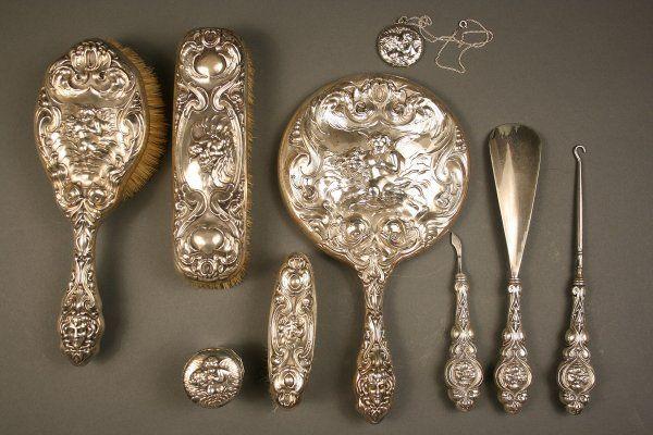 Art Nouveau sterling dresser vanity set, Unger, Lo