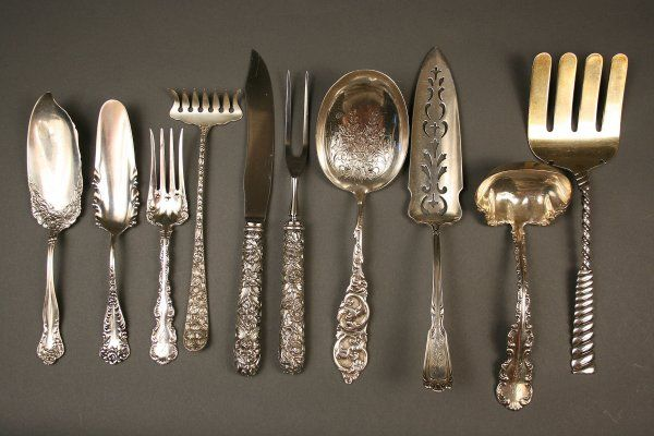 258: 10 pcs. assorted sterling silver flatware, early 2