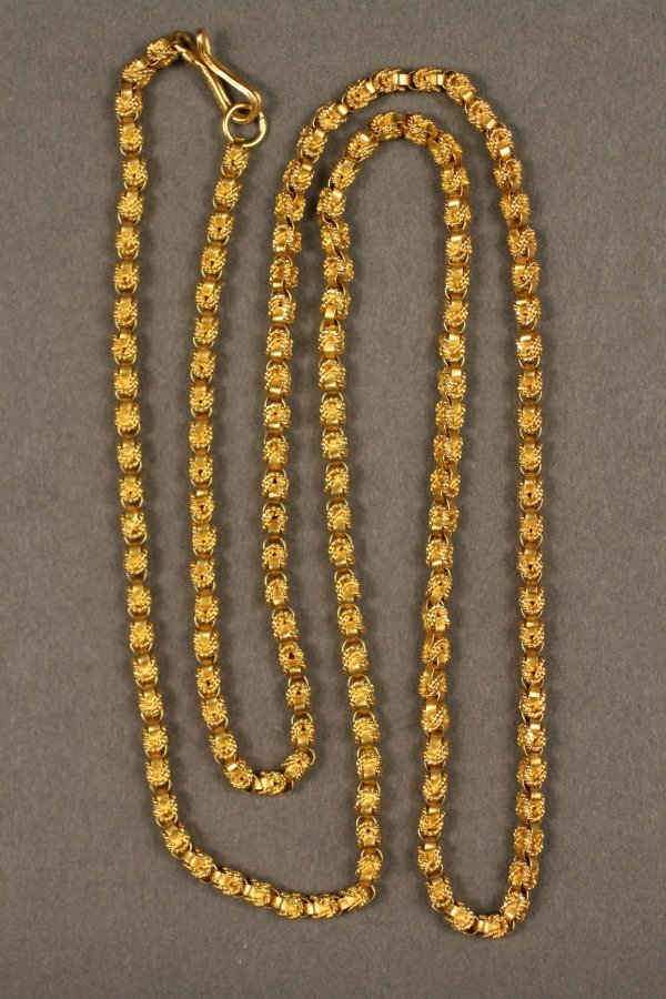22K gold Chain, twisted rope design, 1.29 oz troy