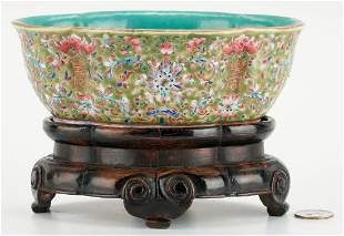 Chinese Famille Rose Quatrefoil Bowl w/ Stand
