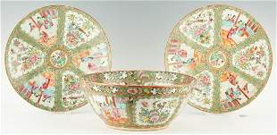 Chinese Export Rose Medallion Punch Bowl, Chargers, 3