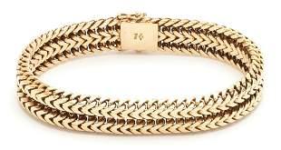 14K Mens Gold Chain Bracelet, 55.2 grams