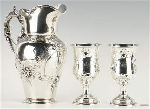 Mississippi Gov. Alcorn Coin Silver Pitcher & Goblets