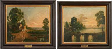 Pr. Oil on Canvas Landscapes, attrib. Joseph Meeker