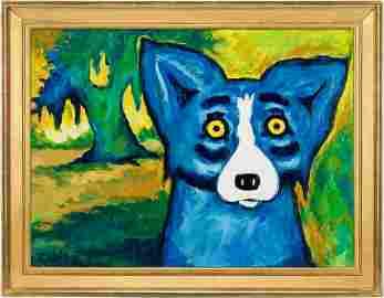 George Rodrigue Original Blue Dog Acrylic on Canvas