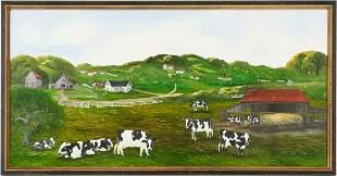Helen LaFrance Oil on Board Panoramic Farm Scene