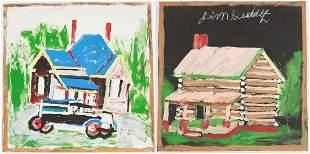 2 J. Sudduth Folk Art Paintings, Cabin & House w/ Truck