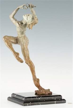 Richard MacDonald Patinated Bronze Sculpture, Flutist