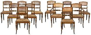 Set of 12 English Regency Paint Decorated Chairs