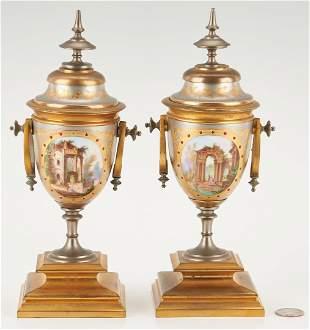 Pr. of Silvered, Bronze & Enameled Porcelain Urns