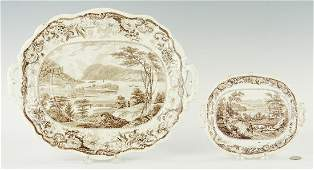 Two (2) Historical Staffordshire Platters, Hudson River