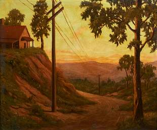 Margit Varga O/C Landscape Painting, Telephone Poles in