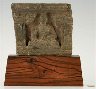Asian Carved & Mounted Stone Buddha Plaque