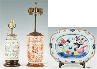2 Chinese Porcelain Lamps & Porcelain Platter, 3 items
