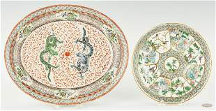 Chinese Export Porcelain Plate & Oval Dish