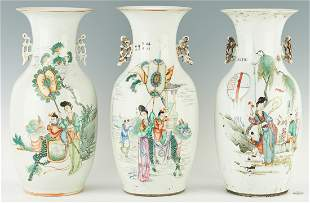 3 Chinese Famille Rose Porcelain Vases