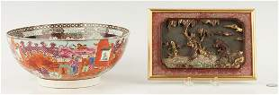 English Porcelain Punch Bowl & Chinese Gilt Panel