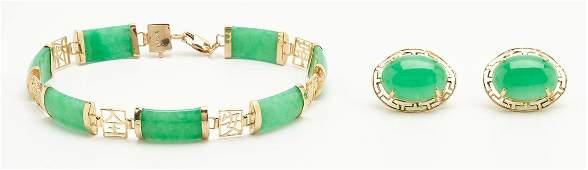 Jade & 14K Gold Bracelet with Earrings