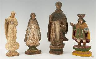 4 Spanish Colonial Carved Santos Figures