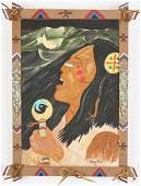 Frank Pickle Outsider Art Painting, Native American