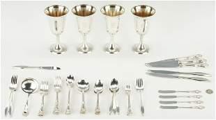 46 Pcs. Sterling Silver incl. Goblets & Flatware