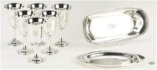 Eight (8) Sterling Silver Items, incl. Wallace Goblets