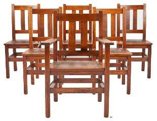 6 Stickley Brothers Arts & Crafts Dining Chairs