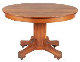 Stickley Brothers Arts & Crafts Oak Dining Table