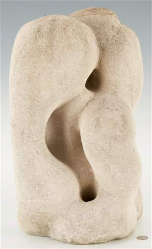Limestone Sculpture with Intertwined Figures, attr.