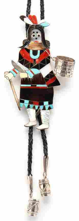 Large Eddie Beyuka Zuni Dancer Bolo Tie, Ogre