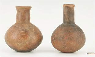 2 Native American Caddo Culture Engraved Bottles