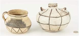 Pre-Historic Anasazi Black on White Cup & Jar