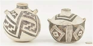 2 Native American Anasazi Black on White Seed Jars