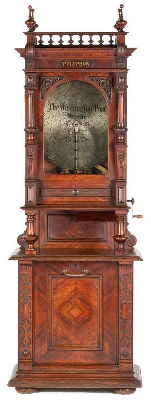 Polyphon Upright Coin Operated Music Box w/ 24 Disks