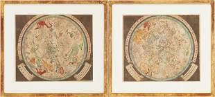 Pair of Baroque Celestial Maps, Johann Zahn