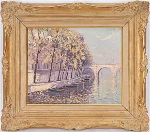 Norman Lloyd O/C Painting, Parisian Bridge
