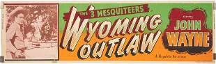 Early John Wayne Movie Poster, Wyoming Outlaw