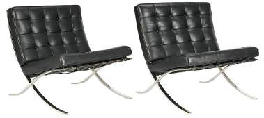 Pair Labeled Knoll Barcelona Chairs, Mies Van de Rohe